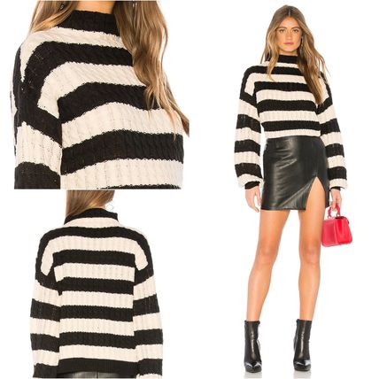 Cable Knit Stripes Casual Style Rib Medium High-Neck