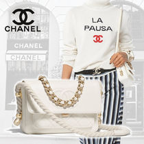 CHANEL Calfskin Blended Fabrics Street Style 2WAY Chain Plain