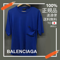 BALENCIAGA Balenciaga Men's Blue Droopy Cotton Short Sleeve T Shirt