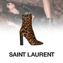 Saint Laurent Leopard Patterns Casual Style Suede Block Heels