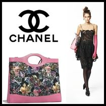 CHANEL Flower Patterns Calfskin Blended Fabrics 3WAY Elegant Style