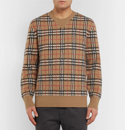 Burberry Knits & Sweaters Cashmere U-Neck Long Sleeves Knits & Sweaters 2