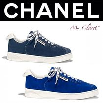 CHANEL ICON Unisex Suede Street Style Plain Sneakers