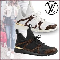 Louis Vuitton MONOGRAM Monogram Plain Toe Rubber Sole Blended Fabrics Street Style