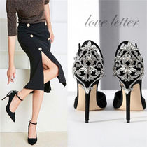 Square Toe Suede Plain Pin Heels Party Style
