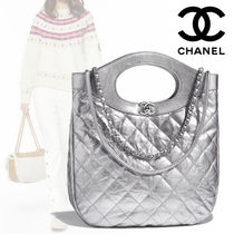 CHANEL Plain Leather Elegant Style Totes