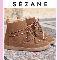 SEZANE Platform Plain Toe Mountain Boots Casual Style Plain Leather