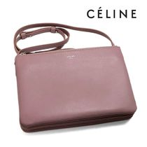 CELINE Trio Bag 2WAY Plain Leather Handbags
