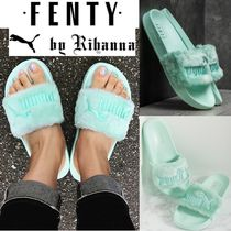 PUMA FENTY Open Toe Platform Casual Style Faux Fur Blended Fabrics