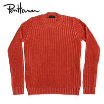 Ron Herman Crew Neck Unisex Wool Low Gauge Long Sleeves Plain Handmade