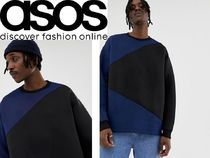 ASOS Crew Neck Pullovers Blended Fabrics Street Style Bi-color