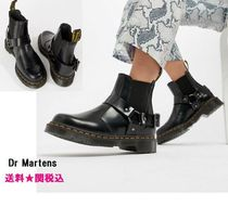 Dr Martens Platform Round Toe Casual Style Plain Leather Chelsea Boots