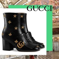 GUCCI Star Casual Style Leather Block Heels Fringes