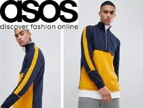 ASOS Pullovers Street Style Bi-color Long Sleeves Plain Cotton