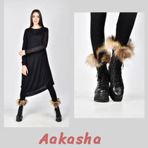 Aakasha Rubber Sole Plain Leather Handmade Mid Heel Boots