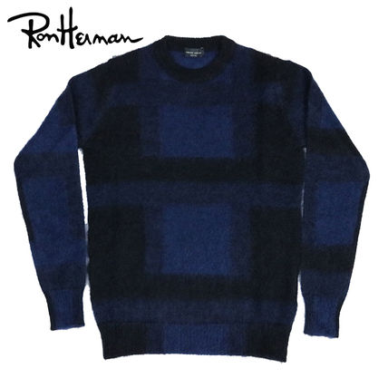 Crew Neck Tartan Other Check Patterns Unisex Wool Fine Gauge