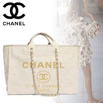 CHANEL DEAUVILLE Nylon Blended Fabrics A4 2WAY Chain Elegant Style Totes