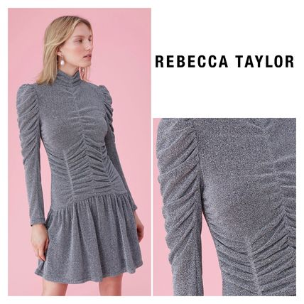 Crew Neck Casual Style A-line Long Sleeves Medium Dresses