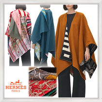 HERMES petit h Cashmere Bi-color Plain Medium Ponchos & Capes