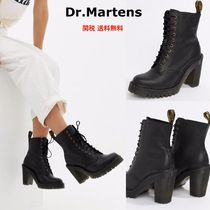 Dr Martens Round Toe Lace-up Plain Chunky Heels Lace-up Boots