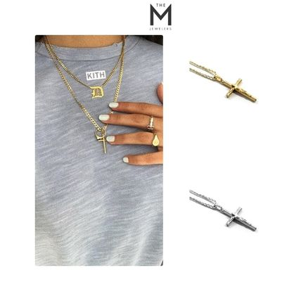 Casual Style Unisex Cross Street Style Chain Silver 18K Gold
