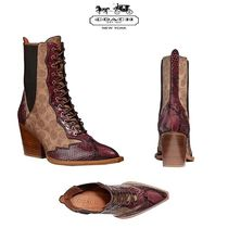 Coach Leather Python High Heel Boots