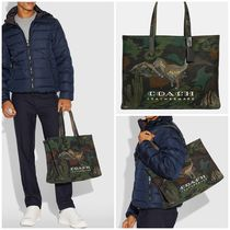 Coach Camouflage Canvas A4 Other Animal Patterns Totes
