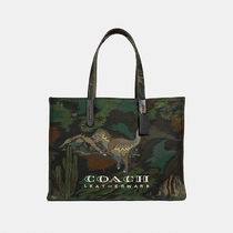 Coach Canvas A4 Other Animal Patterns Khaki Totes