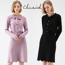 Chicwish Tight V-Neck Long Sleeves Plain Medium Elegant Style Dresses