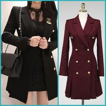 Plain Medium Midi Elegant Style Peacoats