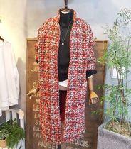 Casual Style Tweed Blended Fabrics Street Style Bi-color