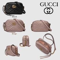 GUCCI GG Marmont Plain Leather Elegant Style Shoulder Bags