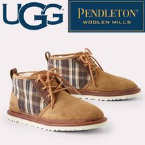 UGG Australia NEUMEL Tartan Other Check Patterns Plain Toe Suede Blended Fabrics