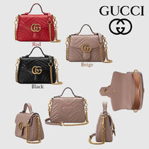 GUCCI GG Marmont Heart Plain Leather Elegant Style Handbags