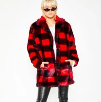 DOLLS KILL Other Check Patterns Unisex Faux Fur Street Style Medium