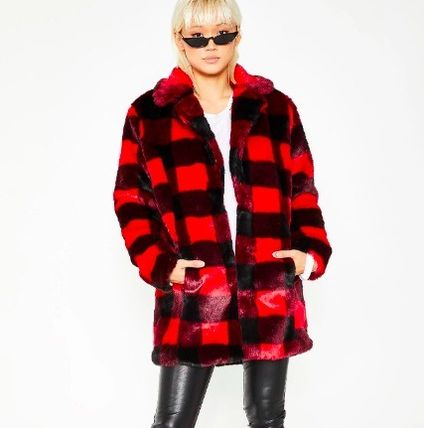 Other Check Patterns Unisex Faux Fur Street Style Medium