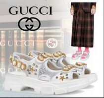 GUCCI Rubber Sole Casual Style Plain Leather Heeled Sandals