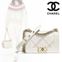 CHANEL Plain Leather Elegant Style Handbags