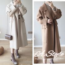 Casual Style Wool Plain Long Oversized Coats