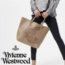 Vivienne Westwood Casual Style Unisex A4 Plain Leather Totes
