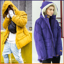 Unisex Street Style Bi-color Plain Long Oversized Parkas