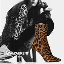 Saint Laurent Leopard Patterns Leather Block Heels Ankle & Booties Boots