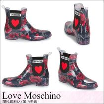Love Moschino Heart Flower Patterns Rubber Sole Ankle & Booties Boots