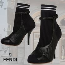 FENDI Round Toe Plain Leather Pin Heels Elegant Style