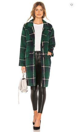 Other Check Patterns Casual Style Wool Blended Fabrics Long