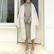 Cable Knit Casual Style Long Sleeves Plain Long Oversized
