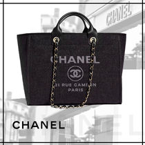 CHANEL DEAUVILLE Casual Style Unisex 2WAY Chain Totes