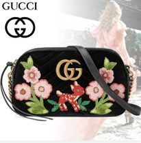 GUCCI Flower Patterns Chain Leather Shoulder Bags