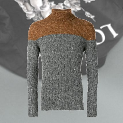 Cable Knit Cashmere Street Style Bi-color Long Sleeves Plain