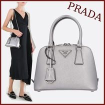 PRADA SAFFIANO VERNICE Unisex Saffiano Street Style 2WAY Plain Party Style Handbags